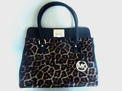5c0af343f5fd NEW MICHAEL KORS Astrid Black Leather+Leopard Print Calf Hair Tote ...