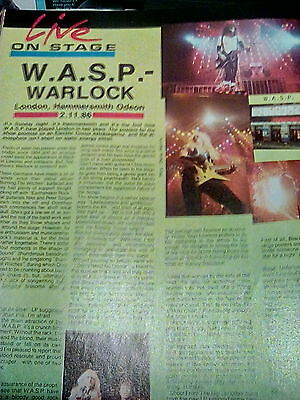 WASP Live Hammersmith London 1986 Blackie & Chris Holmes 1Page review from mag