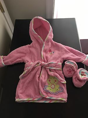Just Born 0-9m Infant Frog Robe And Pink Floral Booties