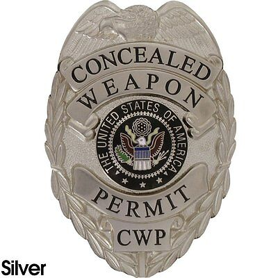 435 CONCEALED WEAPON PERMIT BADGE SET Silver Finish  - Includes Free Badge Case