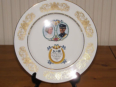 Aynsley 1973 Princess Anne & Mark wedding colourful commemorative plate