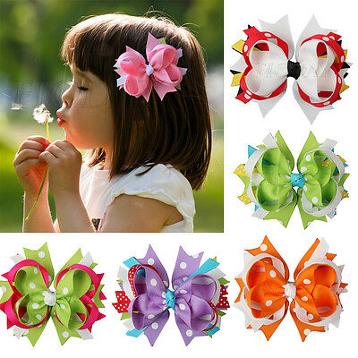 4'' Girls Baby Toddler Kids Grosgrain Hair Bows Alligator Clips Hair Accessorie