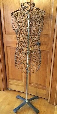 "Vintage Wire Dress Form w/stand Mannequin ""My Double"" Metal Mesh Steampunk Look"