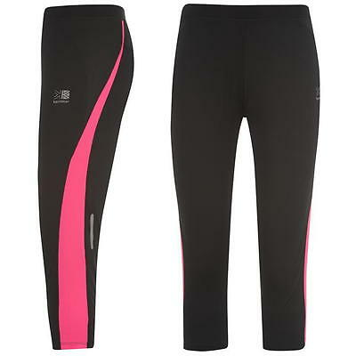 *womens Ladies Karrimor Running Jogging Fitness Yoga Capri Black / Pink Tights