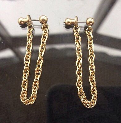 Ace Vintage 80s Gold Tone Rope Chain Front To Back Dangle Stud Earrings