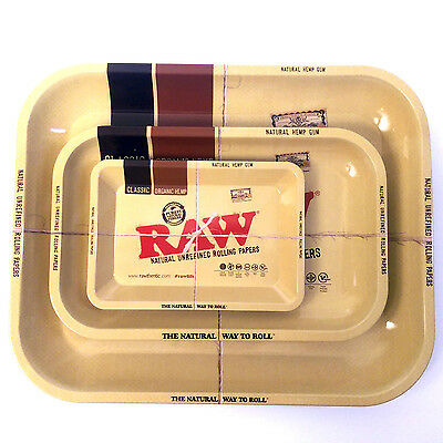New Raw Rolling Tray Metal 1970's Style Collectors Tray Mini Small Medium Large
