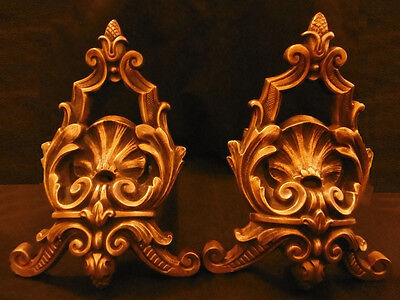 Pair Of Fireplace Andirons, Louis Xv Style, Era 19Th - Bronze - French Antique