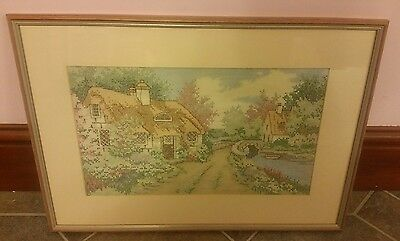 Lovely Vintage Cross Stitch Picture Mt'd/framed U/ Glass. Country Cottage Vgc
