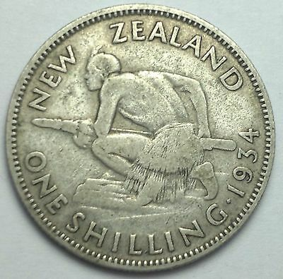 1934 New Zealand 1 Shilling silver coin