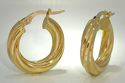 Twisted Tubular Round Hoop Earrings 18k Yellow Gold 18mm