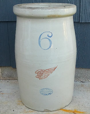 Antique Vintage 6 Gallon Red Wing Union Stoneware Butter Churn Crock