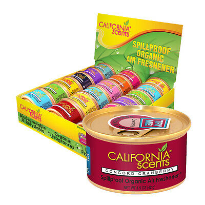 12 x California Scents Organic Spillproof Car Air Freshener - CONCORD CRANBERRY