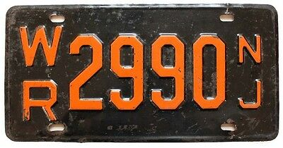 Vintage New Jersey 1957 1958 Warren County License Plate, WR 2990