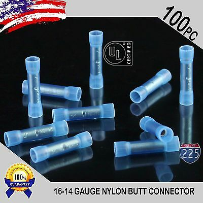 100 Pack 16-14 Gauge Wire Butt Connectors Blue Nylon 16-14 AWG Crimp Terminals