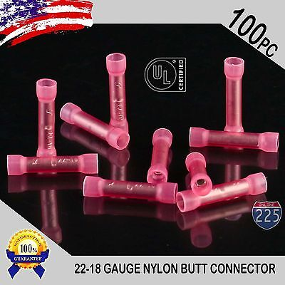 100 Pack 22-18 Gauge Wire Butt Connectors Red Nylon 22-18 AWG Crimp Terminals UL
