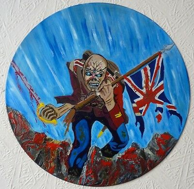 IRON MAIDEN record wall clock ...the trooper .hand painted