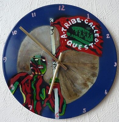 A TRIBE CALLED QUEST inspired rec wall clock..popart..spray paint art..recycled