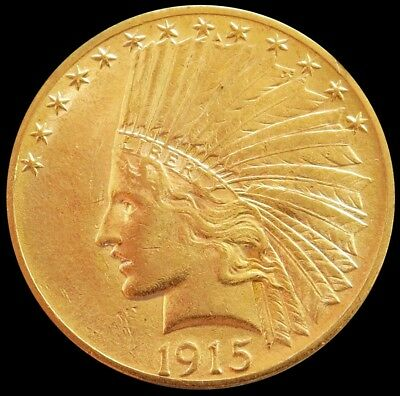1915 Gold Us $10 Indian Head Eagle Coin About Uncirculated Condition