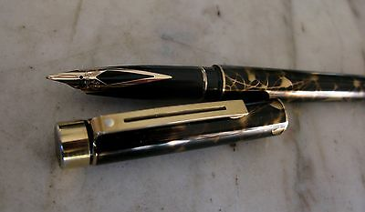Rare Stylo Plume Sheaffer Targa Laque Filigree Noir & Or- Plume En Or Massif 14K