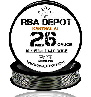 26 Gauge AWG Premium Kanthal Flat Ribbon Wire A1 Resistance 100 ft Roll (Black)