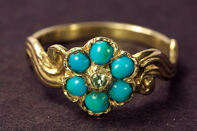 ANTIQUE VICTORIAN ENGLISH 15K GOLD TURQUOISE PASTE FLOWER RING c1860