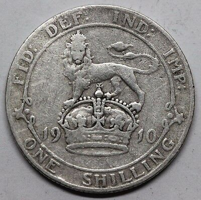 1910 Edward Vii Silver One Shilling (1/-) Coin.