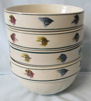 Tienshan Folk Craft Scotty Z  Rainbow Trout Cereal Bowl set of 4