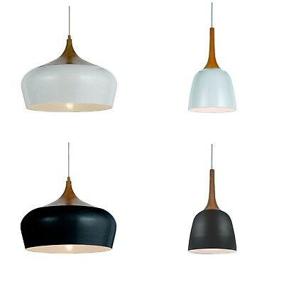 Oak Wood With Black Or White Pendant Hanging Contemporary Onion Light By Telbix