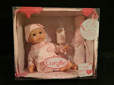 """new COROLLE BABY doll BeBe CALIN pink 12"""" W/ Bed Crib Play Mat Bottle Blankets"""