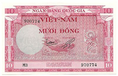 South Vietnam P#3 ND (1955) 10 Dong, Large Uncirculated World Bank Note [463.03]