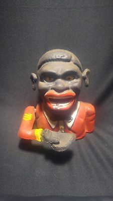 Vintage Reproduction Black Americana Jolly Boy Negro Cast Iron Bank Works