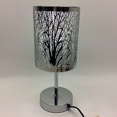 Table Lamp Silver Chrome Nature Trees Branches