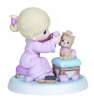 Precious Moments Girl Yorkie Dog Curlers Figurine Retired Love is Patient 134013