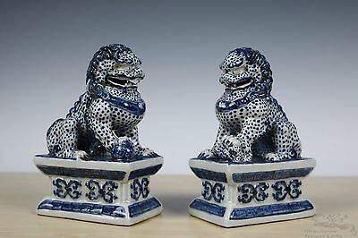 Beautiful Chinese Pair Blue and White Porcelain Foo Dogs Statues