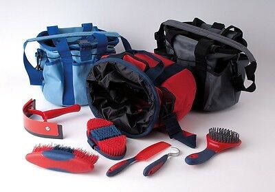 Rhinegold Soft Touch Grooming Bag/kit Brush Set Comb,pick Red Worldwide Ship