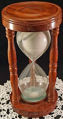 Vintage Hourglass Large in Walnut Wood Wooden Case Blown Glass White Sand
