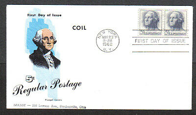Us Fdc 1962 5C Regular Postage Coil Stamps Fluegel First Day Of Issue Cover Ny