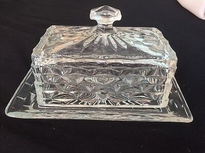 Depression Glass Butter Dish With Cover - Ex Condition