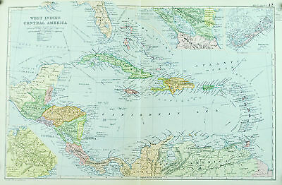 West Indies Central America Antique Map 1891