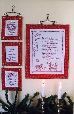 CHRISTMAS PRAYER REDWORK HAND EMBROIDERY PATTERN, From Bird Brain Designs NEW