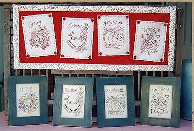 CELEBRATE THE SEASONS REDWORK HAND EMBROIDERY PATTERN, From Bird Brain Designs
