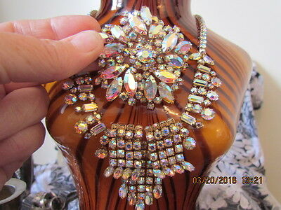 Rare Vintage Signed Sherman Waterfall Ab Aurora Necklace Large Brooch