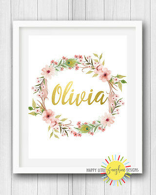 "Girl Nursery Room Print Wall Art Decor 8""x10"" Floral Gold Name Personalised"