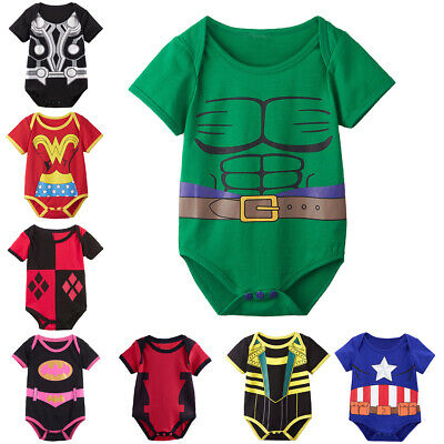 Baby Boy Girl Superhero Costume Funny Bodysuit Infant Outfit Cute Cosplay
