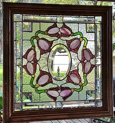 Stained Glass Window Art Panel Sun Catcher Victorian Tiffany Style