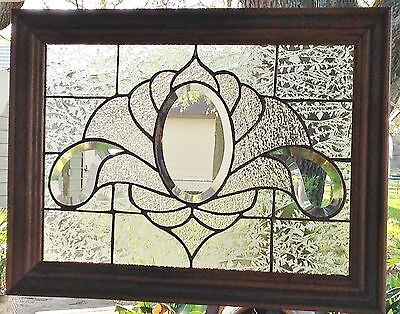 Stained Glass Window Art Panel  Sun Catcher Clearly Bevels Tiffany Style