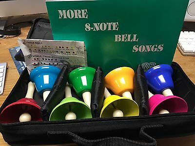 8 Note Metal Hand Bells - Set of 8 bells with case and extra song book