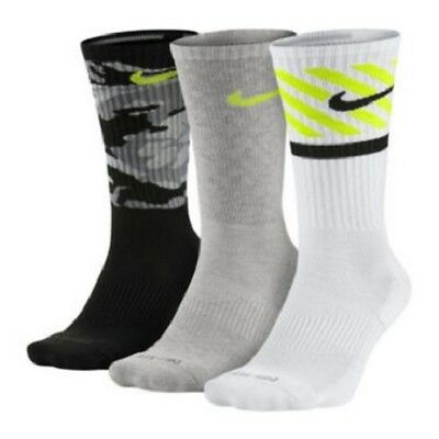 3 Pairs Pack NIKE Dri-Fit Cotton Cushioned Athletic Crew Socks, size M or L