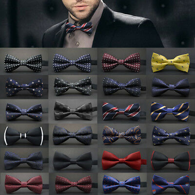 Top Quality Mens Pre Tied BOW TIE Plain Wedding Bowtie Party Classic Prom Office