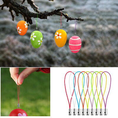 100pcs Easter Egg Iron Wires with 100pcs Hanging Strings for Easter Decoration